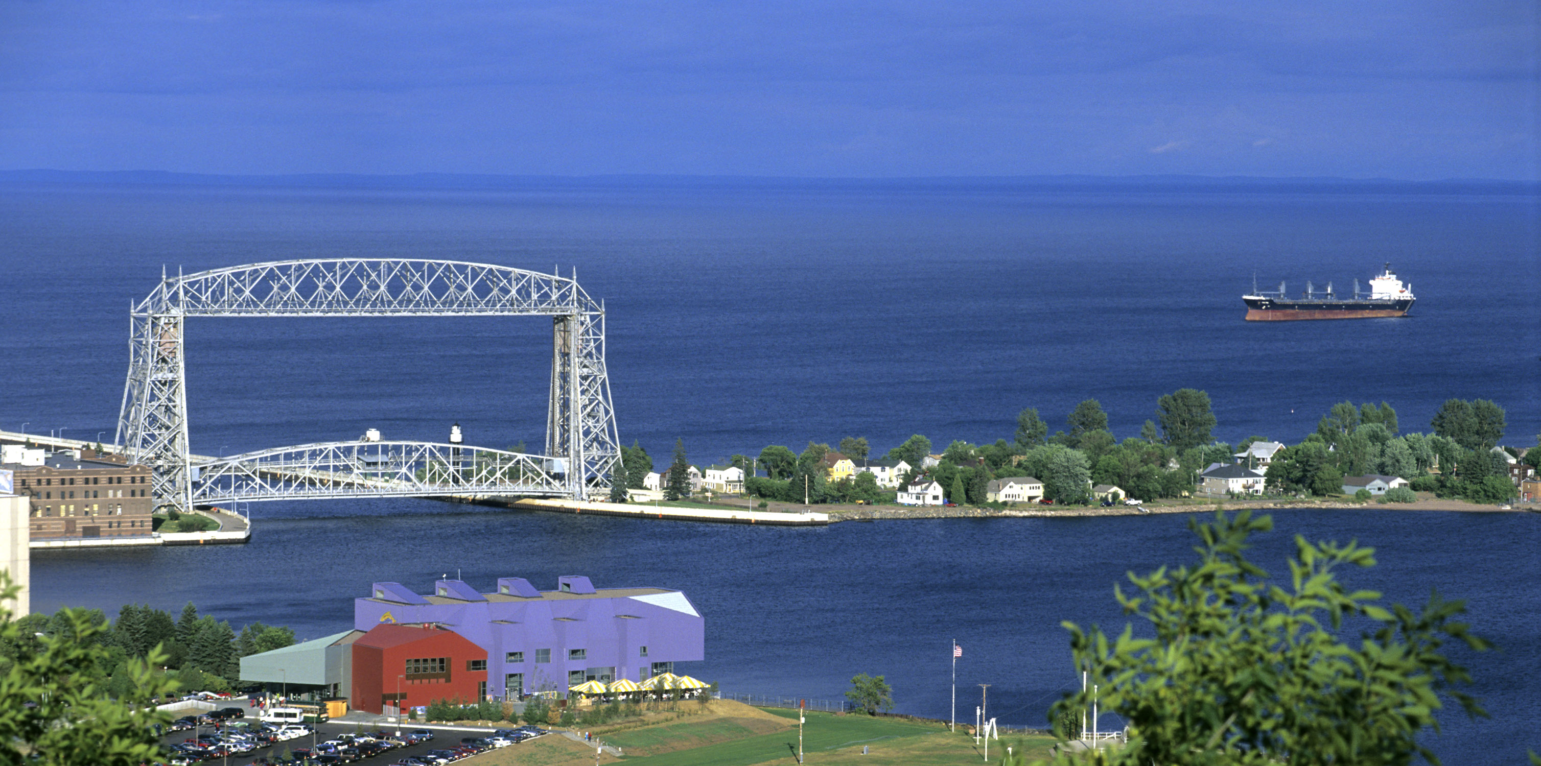 A great lake freights steams toward the Aerial Lift Bridge in Duluth